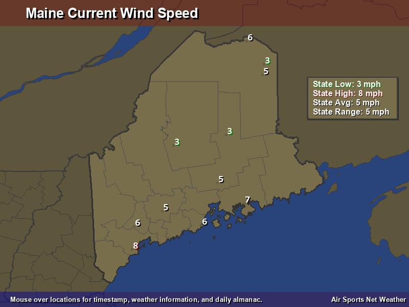 Maine Wind Speed Map