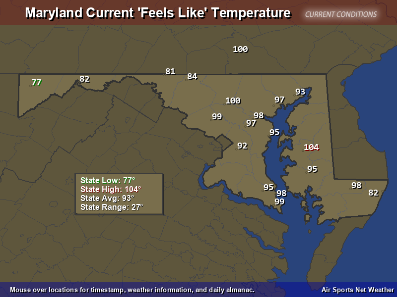 Maryland Feels Like Temperature Map - Air Sports Net