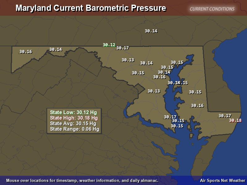Maryland  Barometric Pressure Map