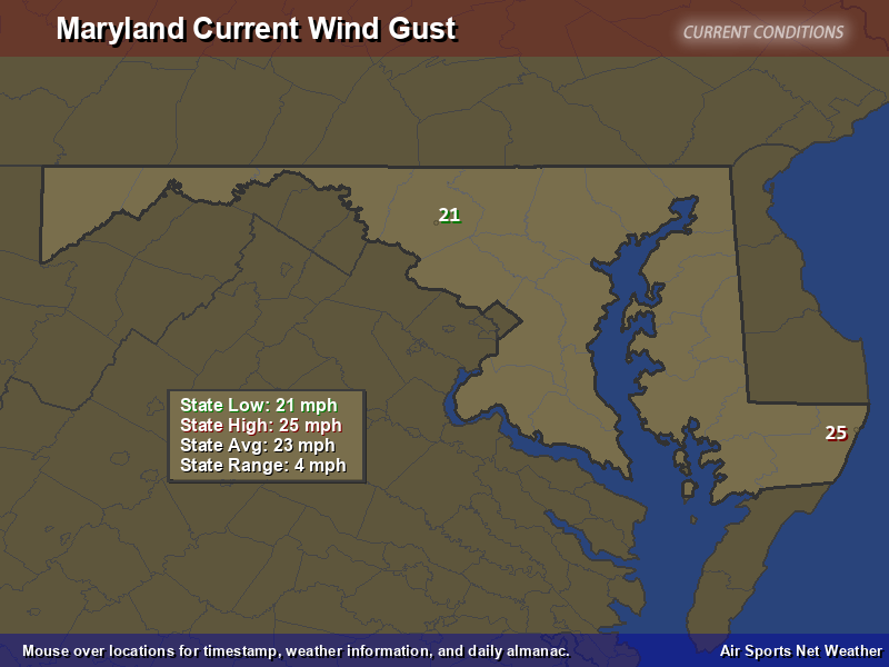 Maryland Wind Gust Map