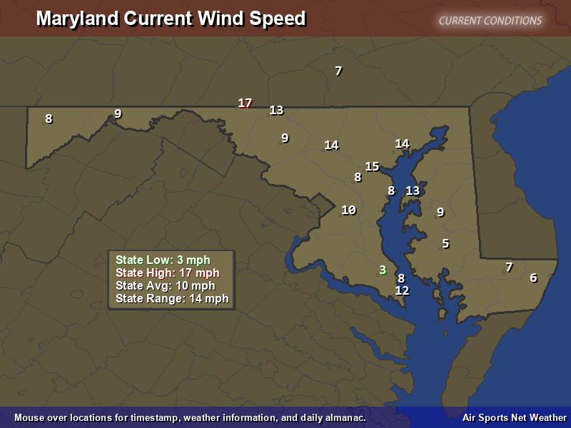 Maryland Wind Speed Map