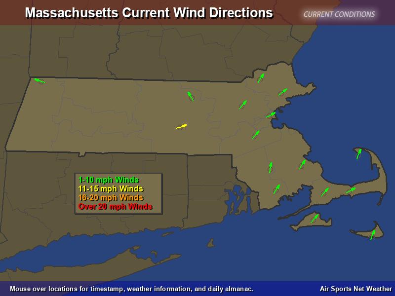 Massachusetts Wind Direction Map