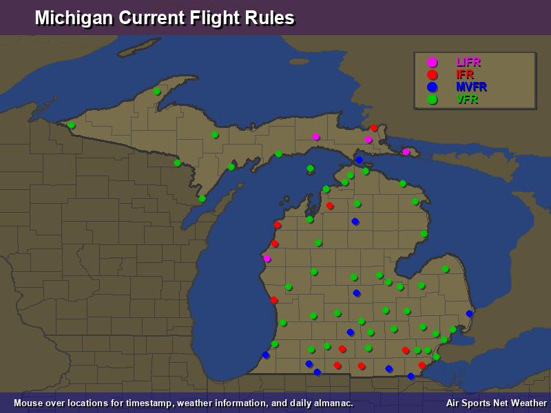 Michigan Flight Rules Map