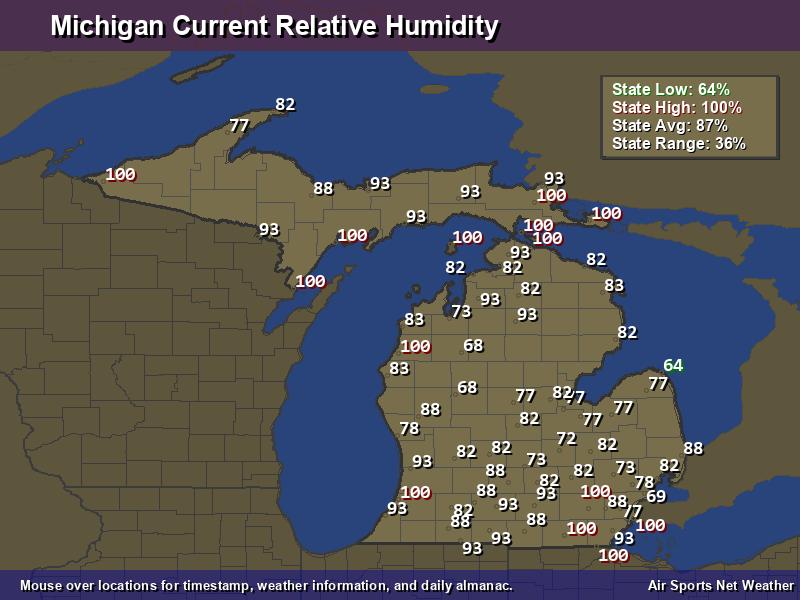 Michigan Relative Humidity Map