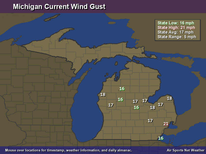 Michigan Wind Gust Map
