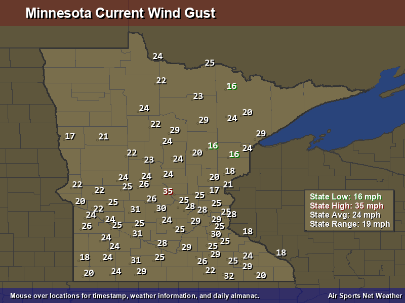 Minnesota Wind Gust Map