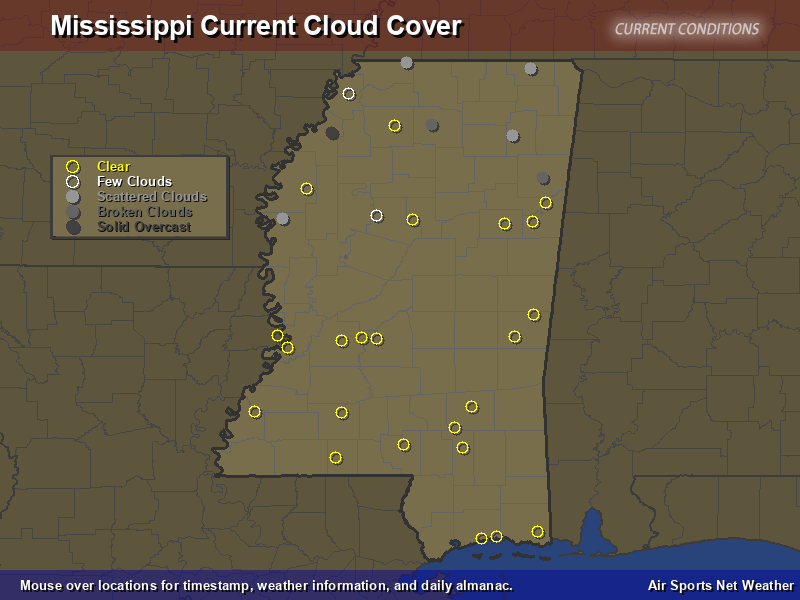 Mississippi Cloud Cover Map