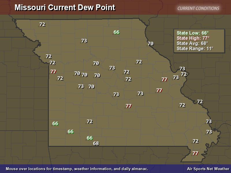 Missouri Dew Point Map