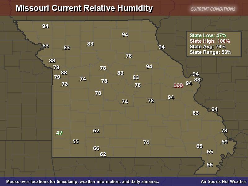 Missouri Relative Humidity Map