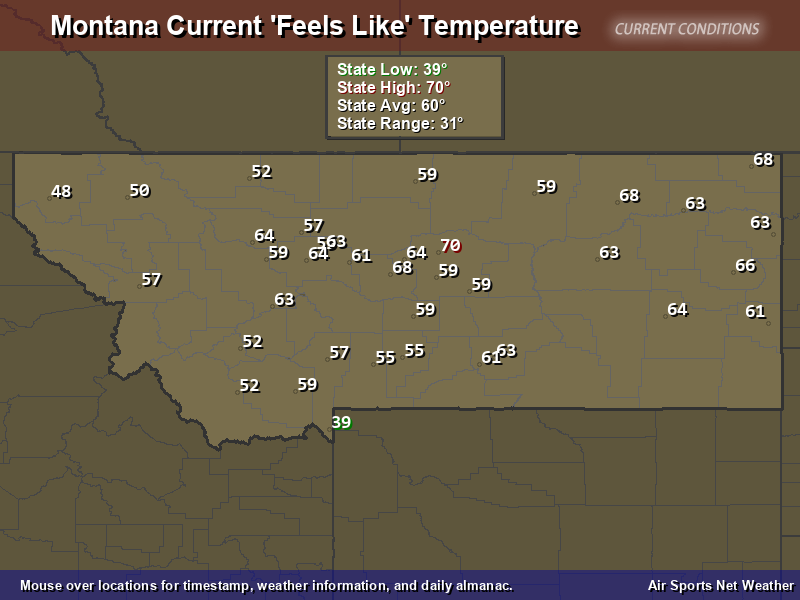 Montana Feels Like Temperature Map