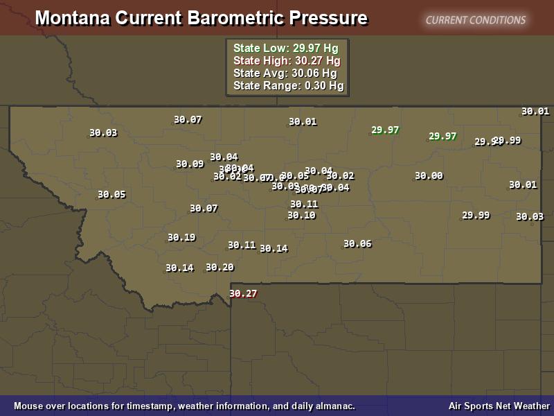 Montana  Barometric Pressure Map