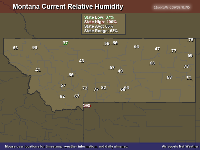 Montana Relative Humidity Map