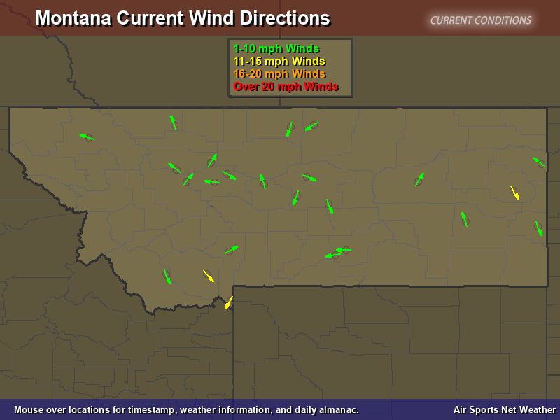 montana wind direction map