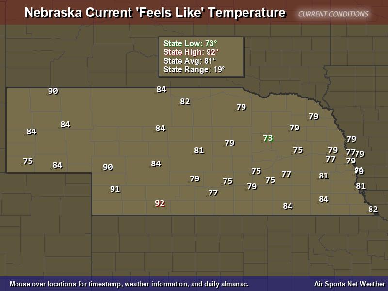Nebraska Feels Like Temperature Map
