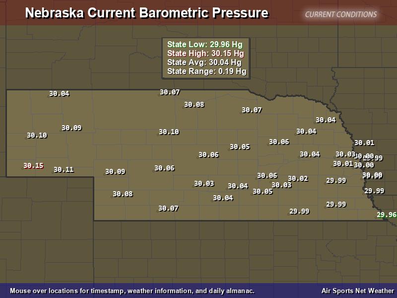 Nebraska  Barometric Pressure Map