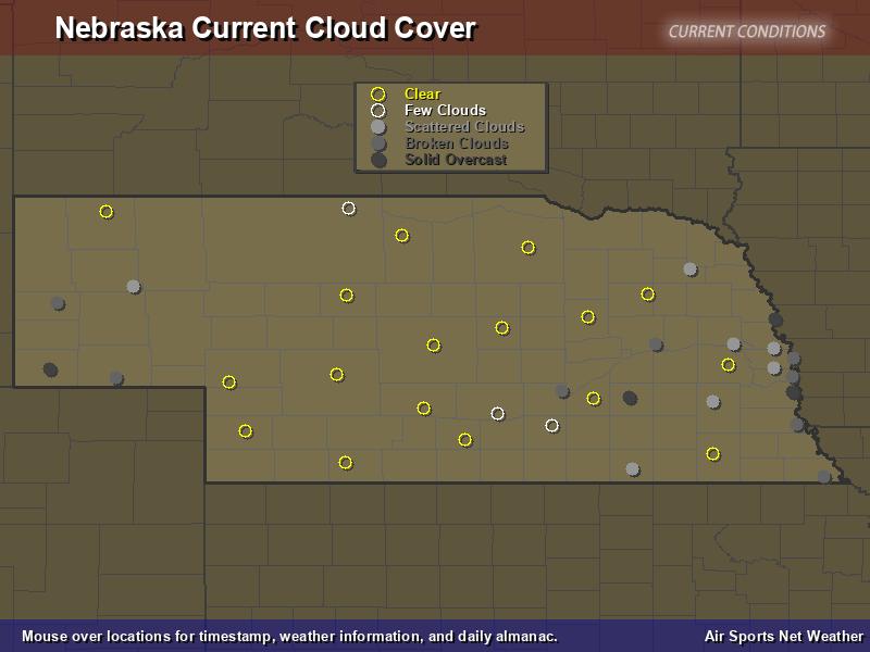 Nebraska Cloud Cover Map