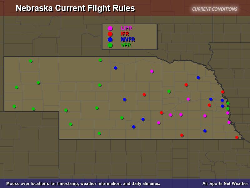 Nebraska Flight Rules Map