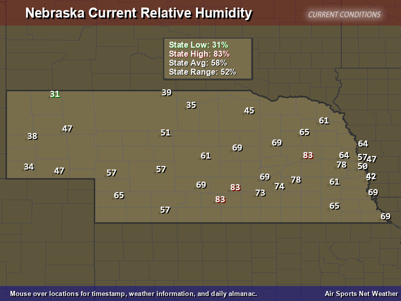 Nebraska Relative Humidity Map