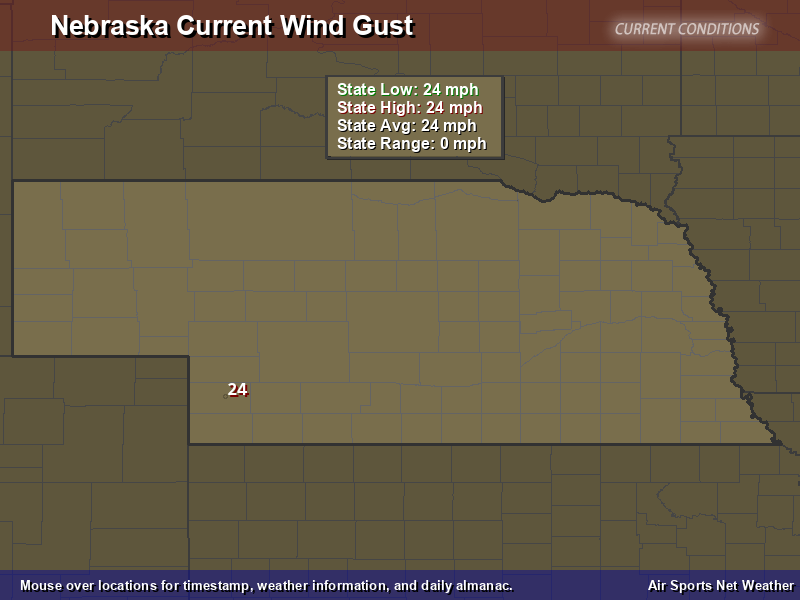 Nebraska Wind Gust Map