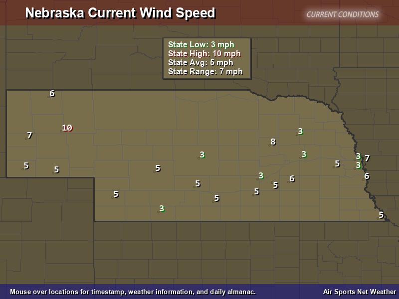Nebraska Wind Speed Map