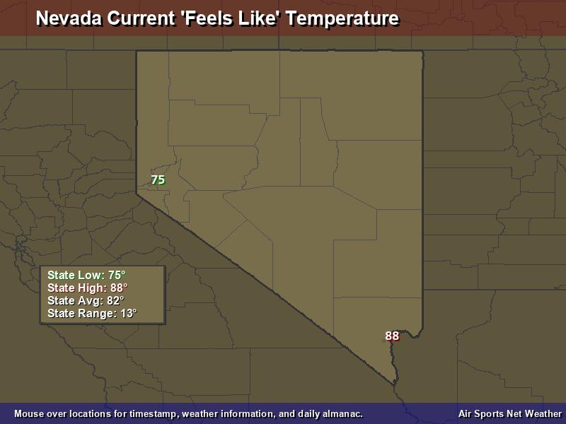Nevada Feels Like Temperature Map