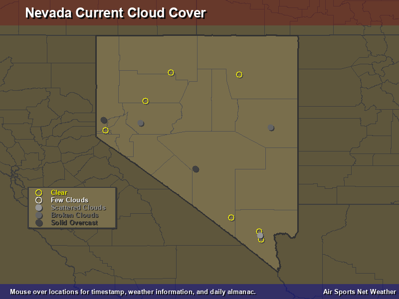 Nevada Cloud Cover Map