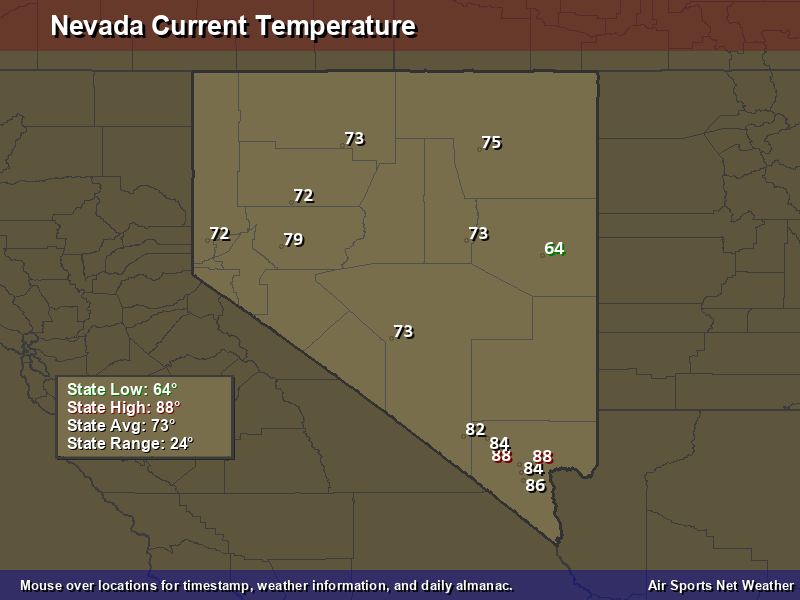 Nevada Temperature Map Air Sports Net