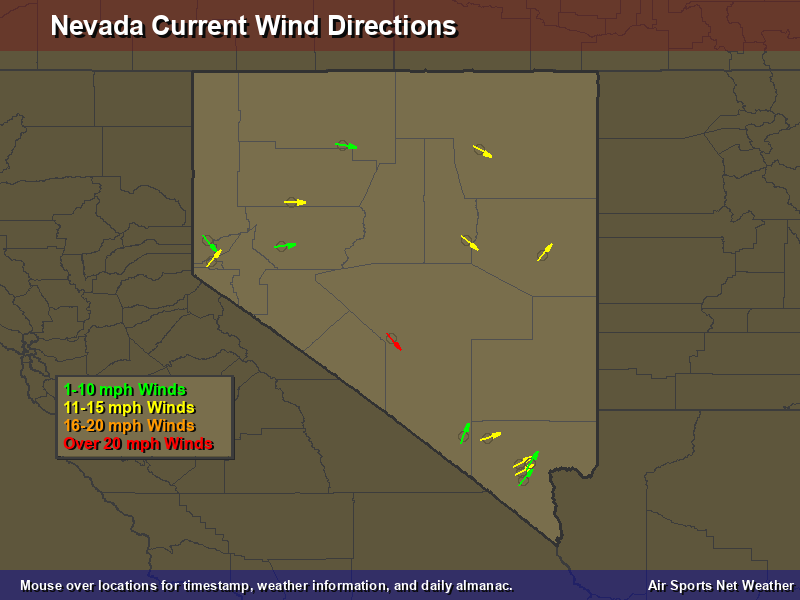 Nevada Wind Direction Map