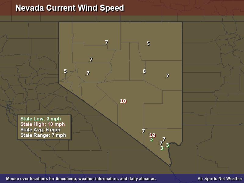 Nevada Wind Speed Map