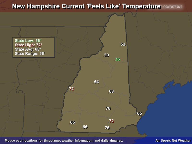 New Hampshire Feels Like Temperature Map