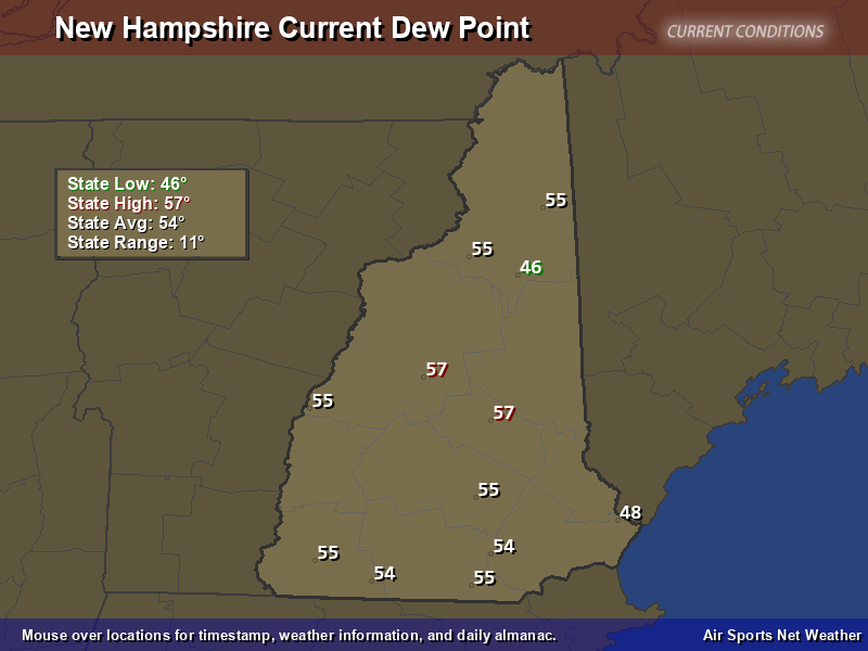 New Hampshire Dew Point Map