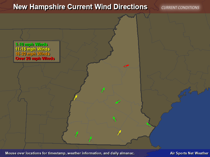 New Hampshire Wind Direction Map