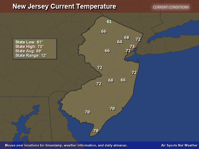 New Jersey Temperature Map