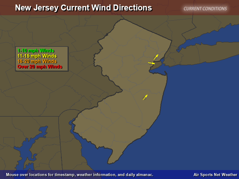 New Jersey Wind Direction Map