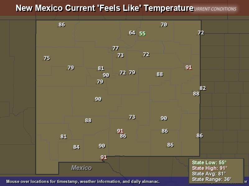 New Mexico Feels Like Temperature Map