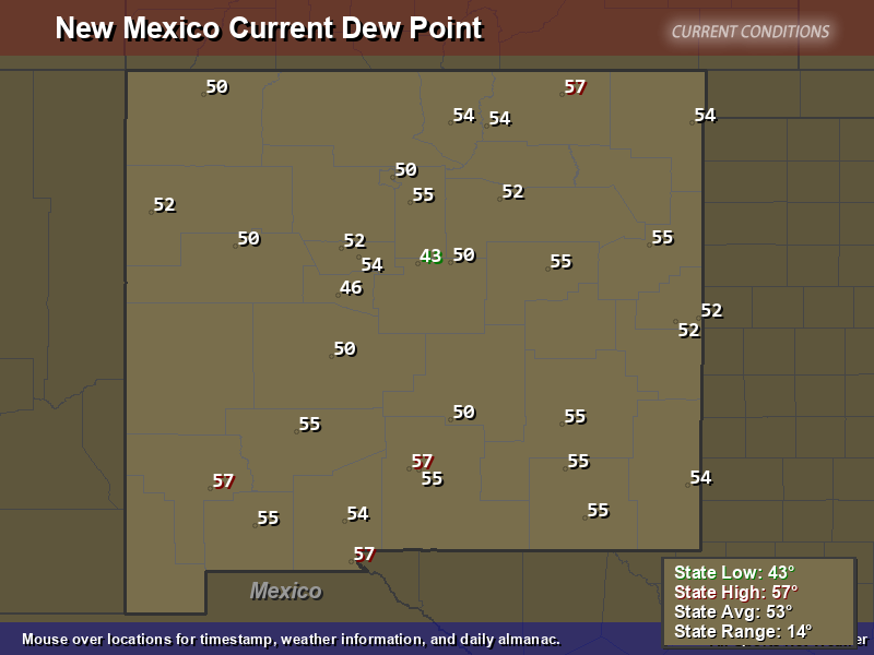 New Mexico Dew Point Map
