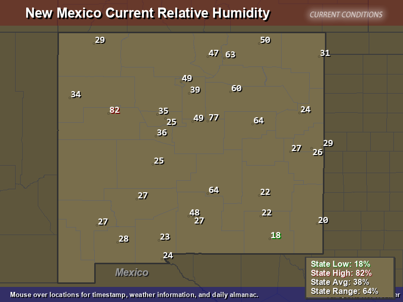 New Mexico Relative Humidity Map