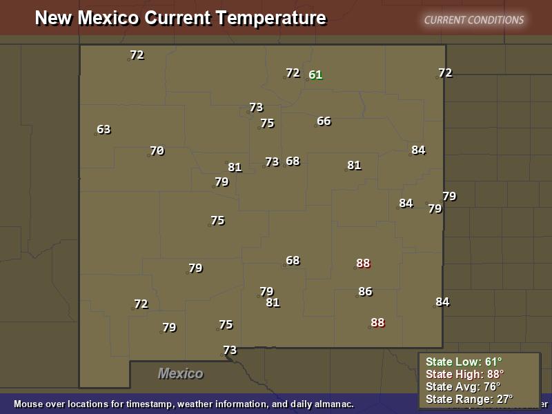 New Mexico Temperature Map