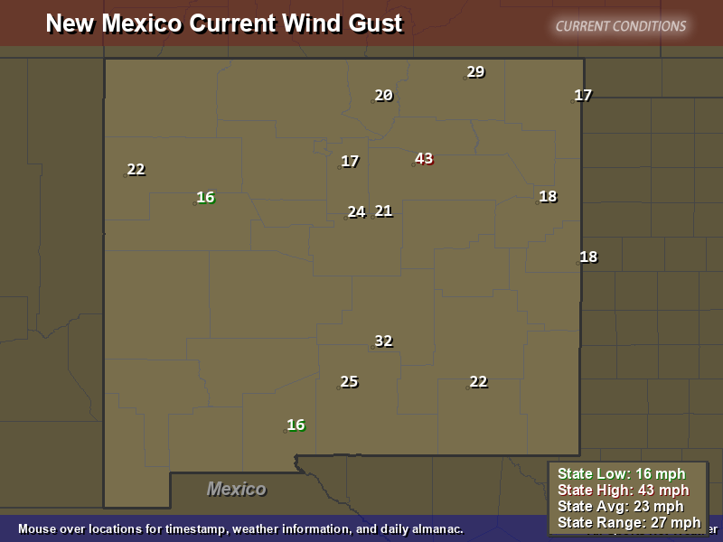 New Mexico Wind Gust Map