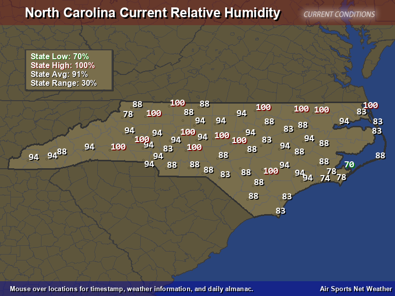 North Carolina Relative Humidity Map