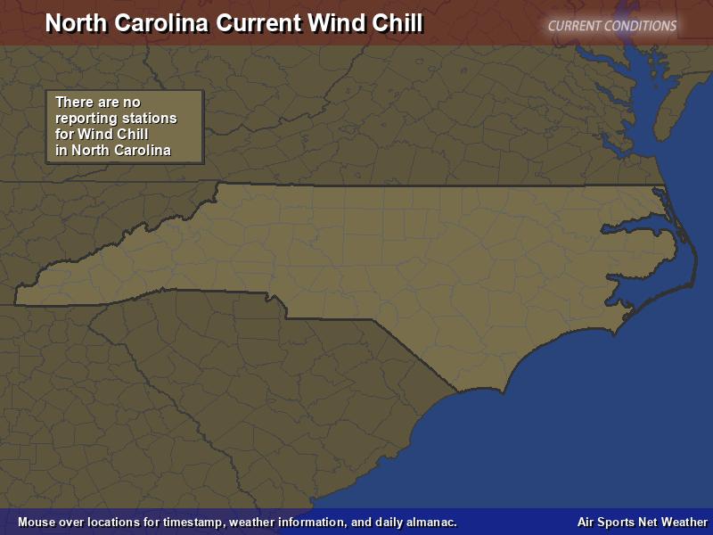 North Carolina Wind Chill Map