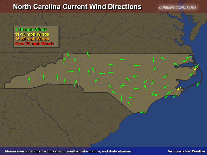 North Carolina Wind Direction Map