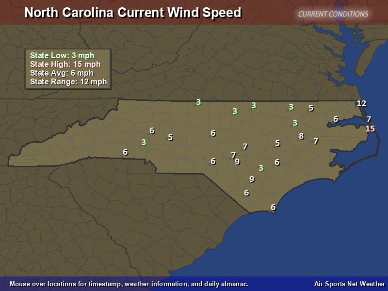 North Carolina Wind Speed Map