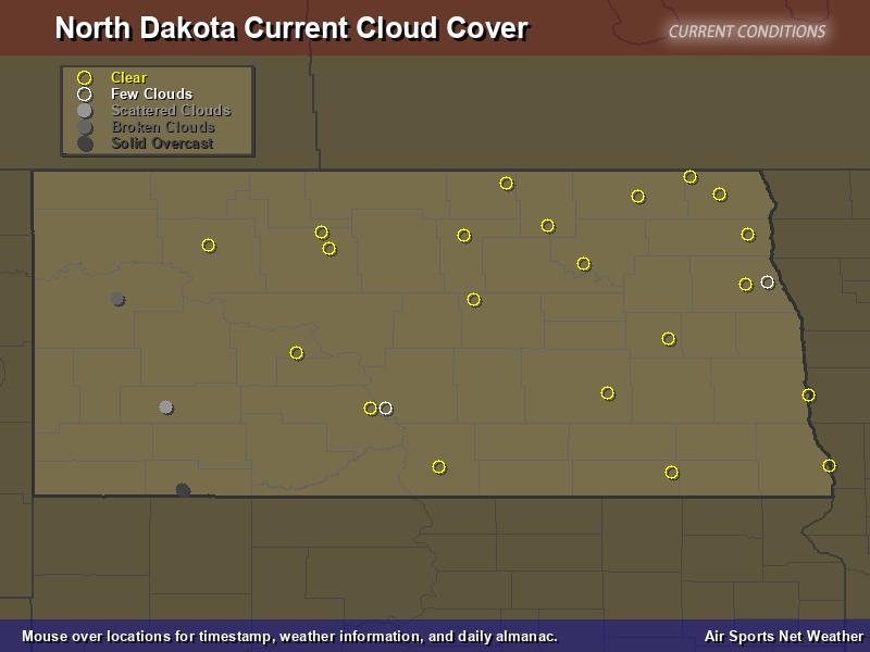 North Dakota Cloud Cover Map