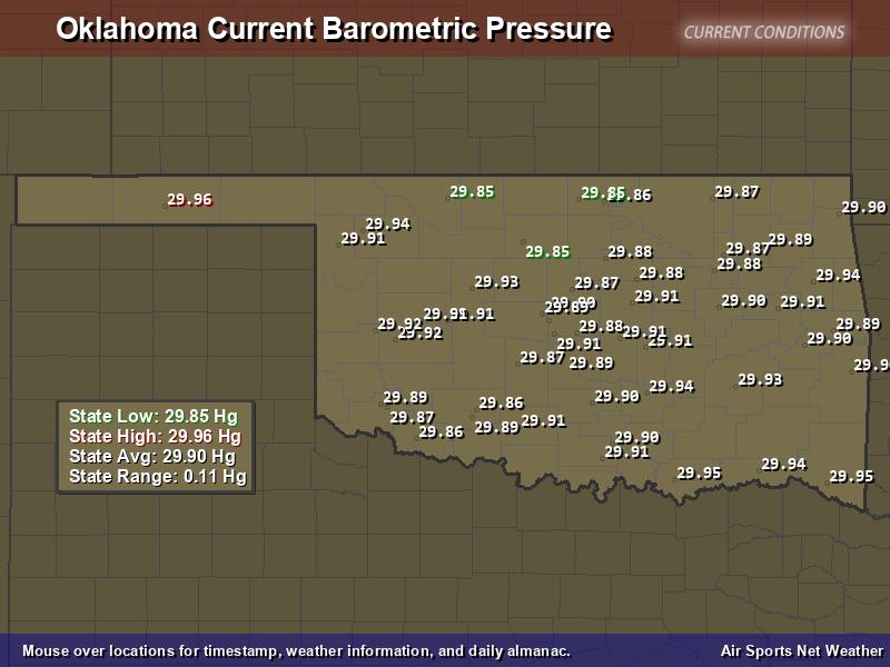 Oklahoma  Barometric Pressure Map