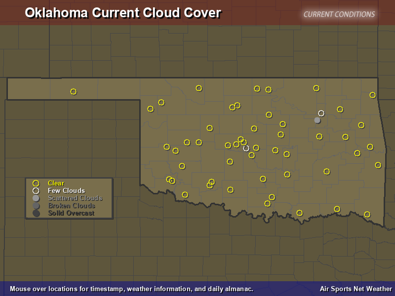 Oklahoma Cloud Cover Map