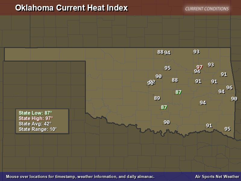 Oklahoma Heat Index Map