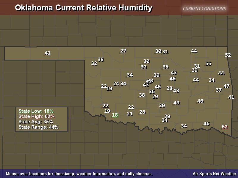 Oklahoma Relative Humidity Map