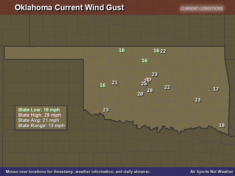 Oklahoma Wind Gust Map
