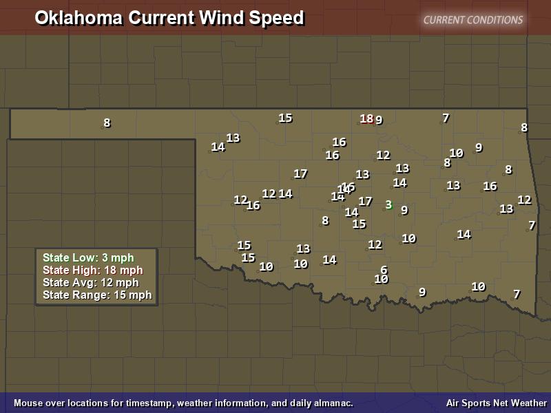 Oklahoma Wind Speed Map